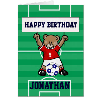 Personalized Cute Soccer Teddy Bear (red) Card