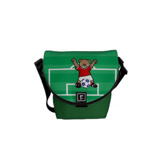 Personalized Cute Soccer Teddy Bear (red) Commuter Bags