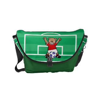 Personalized Cute Soccer Teddy Bear (red) Courier Bags