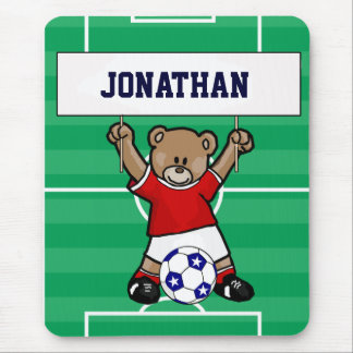Personalized Cute Soccer Teddy Bear (red) Mouse Pad