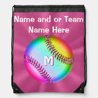 Personalized Cute Softball Drawstring Backpack