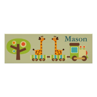 Personalized Cute Train Poster Wall Decor for Kids