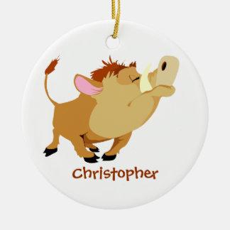 Personalized cute warthog ornament