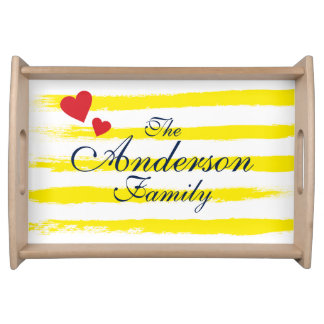 Personalized Cute Yellow STRIPES Brushstrokes Serving Platters
