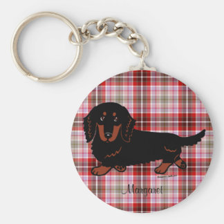 Personalized Dachshund Long Haired Black and Tan Basic Round Button Key Ring