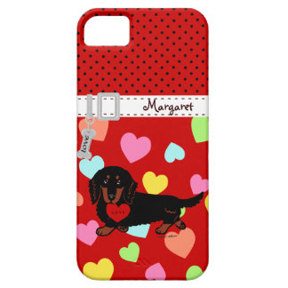 Personalized Dachshund Long Haired Black and Tan iPhone 5 Case