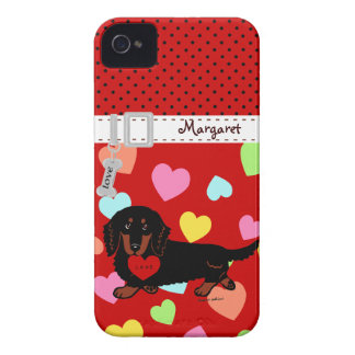 Personalized Dachshund Long Haired Black and Tan Case-Mate iPhone 4 Cases