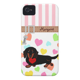 Personalized Dachshund Long Haired Black and Tan iPhone 4 Case
