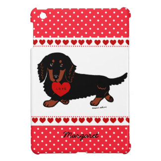 Personalized Dachshund Long Haired Black and Tan Cover For The iPad Mini