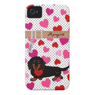 Personalized Dachshund Long Haired Black and Tan iPhone 4 Covers