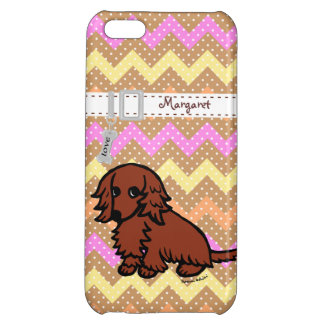 Personalized Dachshund Red Long Haired iPhone 5C Cover