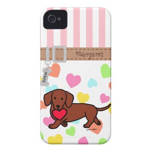 Personalized Dachshund Valentine Cartoon iPhone 4 Cases