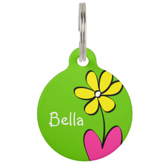 Personalized Daisy Pet Tag - Green/Pink