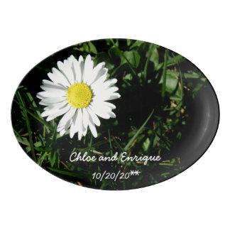Personalized Daisy Wedding Porcelain Serving Platter
