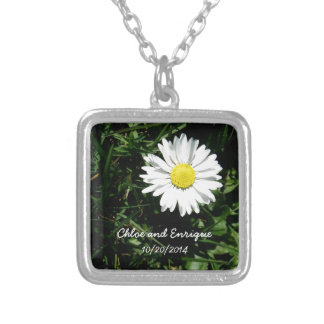 Personalized Daisy Wedding Silver Plated Necklace