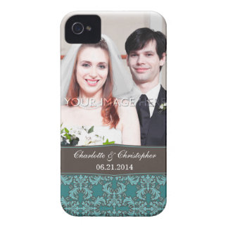 Personalized Damask Bride & Groom iPhone 4 Case