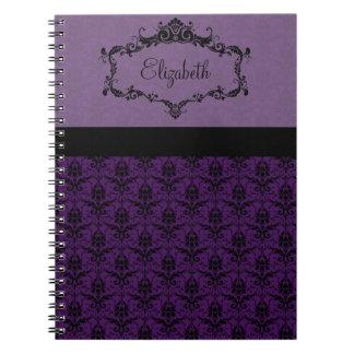 Personalized Damask Notebook - Purple