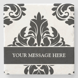 Personalized damask stone coasters black and white