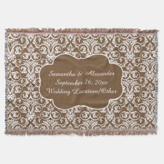 Personalized Damask Wedding/Custom Sand/White