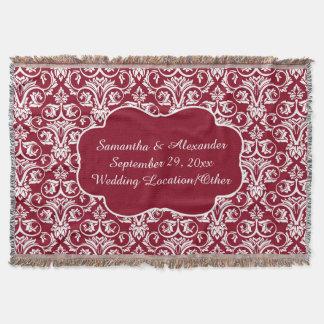 Personalized Damask Wedding/Keepsake Custom Maroon