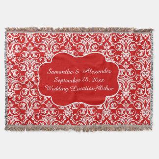 Personalized Damask Wedding/Keepsake Custom Red Throw Blanket