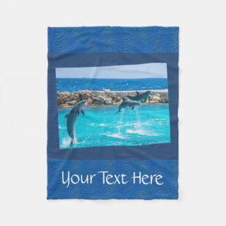 Personalized Dancing Blue Dolphins Photography Fleece Blanket