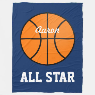 Personalized Dark Blue Basketball Blanket Gift