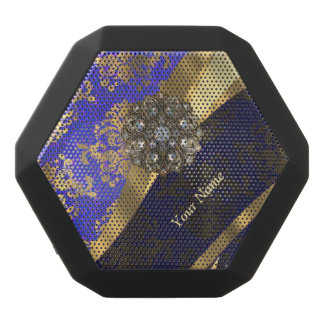 Personalized dark blue damask pattern black bluetooth speaker