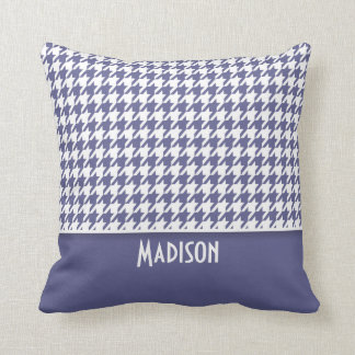 Personalized Dark Blue-Gray Houndstooth Cushion