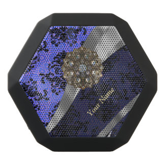 Personalized dark blue vintage damask black bluetooth speaker