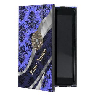 Personalized dark blue vintage damask iPad mini case