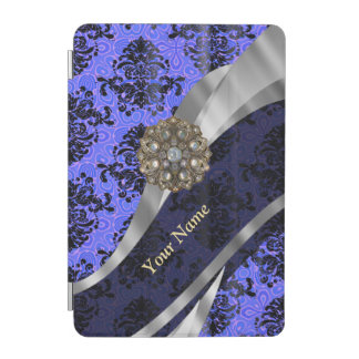 Personalized dark blue vintage damask iPad mini cover