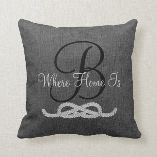 Personalized Dark Grey Monogram Family Pillow