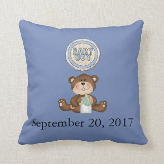 Personalized Date Teddy Bear with Balloon Throw Pillow