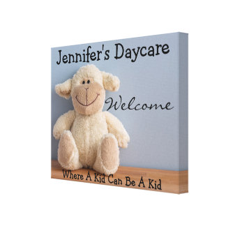Personalized Daycare w/Lamb on Shelf Welcome Sign Canvas Print