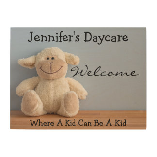 Personalized Daycare w/Lamb Welcome Sign