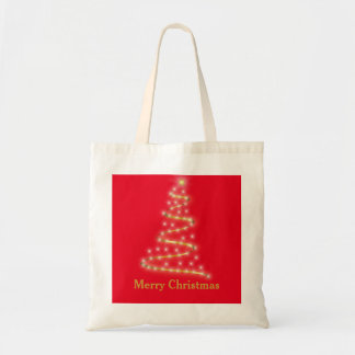 Personalized Decorative Golden Christmas Tree Gift Budget Tote Bag