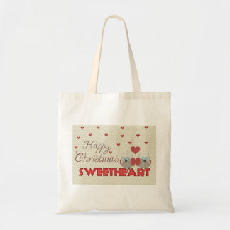 Personalized Decorative Happy Christmas Owls Heart Budget Tote Bag