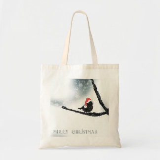 Personalized Decorative Merry Christmas Bird Santa Budget Tote Bag