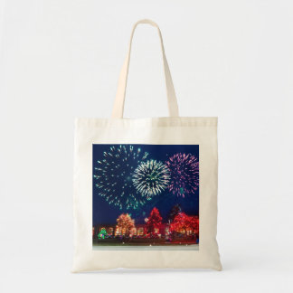 Personalized Decorative Merry Christmas Lighting Budget Tote Bag