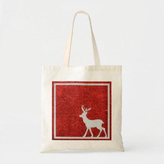 Personalized Decorative Merry Christmas Reindeer Budget Tote Bag