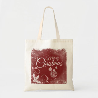 Personalized Decorative Merry Christmas Swirl Budget Tote Bag