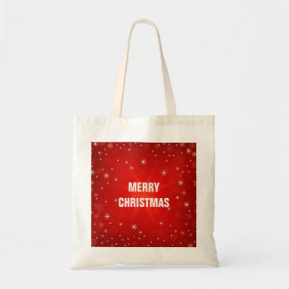 Personalized Decorative Red Merry Christmas Stars Budget Tote Bag