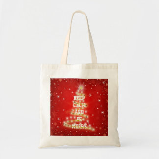 Personalized Decorative Red Merry Christmas Tree Budget Tote Bag