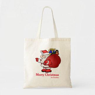 Personalized Decorative Santa Christmas Gift Budget Tote Bag
