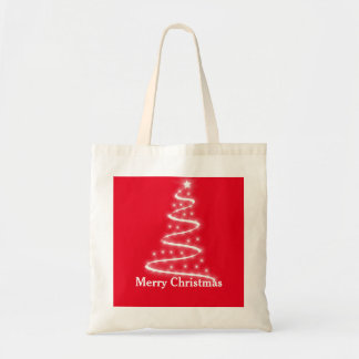 Personalized Decorative Santa Tree Christmas Gift Budget Tote Bag