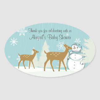 Personalized Deer and Snowman Baby Shower Stickers