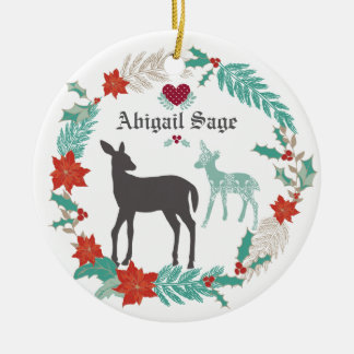 Personalized Deer and Wreath Baby's 1st Christmas Christmas Ornament