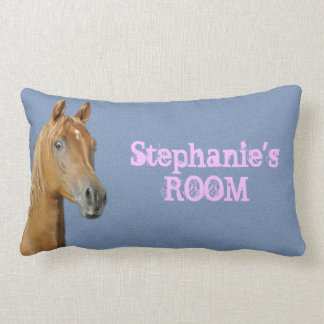 Personalized Denim Blue Color Horse Pillow