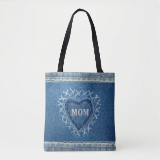 Personalized Denim Heart for Mom Tote Bag